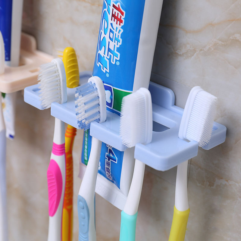 Strong Suction Cup Toothbrush Hanging Storage Shelf Toothpaste Toothbrush Holder Wall Mount Rack Bath Set Bathroom image