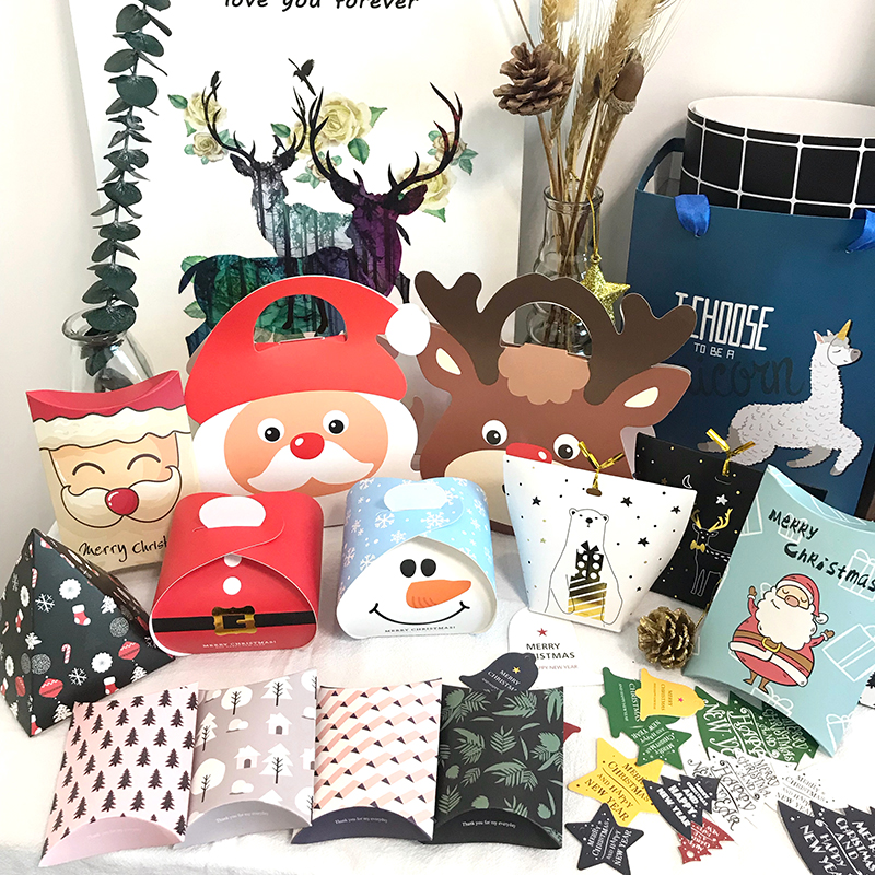 Merry Christmas Candy Box Deer&Xmas Tree Guests Cookie Paper Packaging Boxes Gift Bags Christmas Party Favors Kids Gift Decor