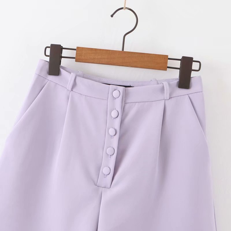 2020 Ladies New Purple Button Casual    Casual Trousers   868