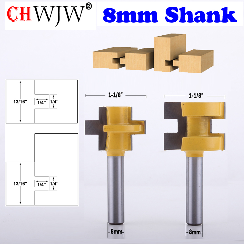 CHWJW 2pc 8mm Shank Mini Tongue & Groove Router Bit Set Line Knife Woodworking Cutter Tenon Cutter For Woodworking Tools