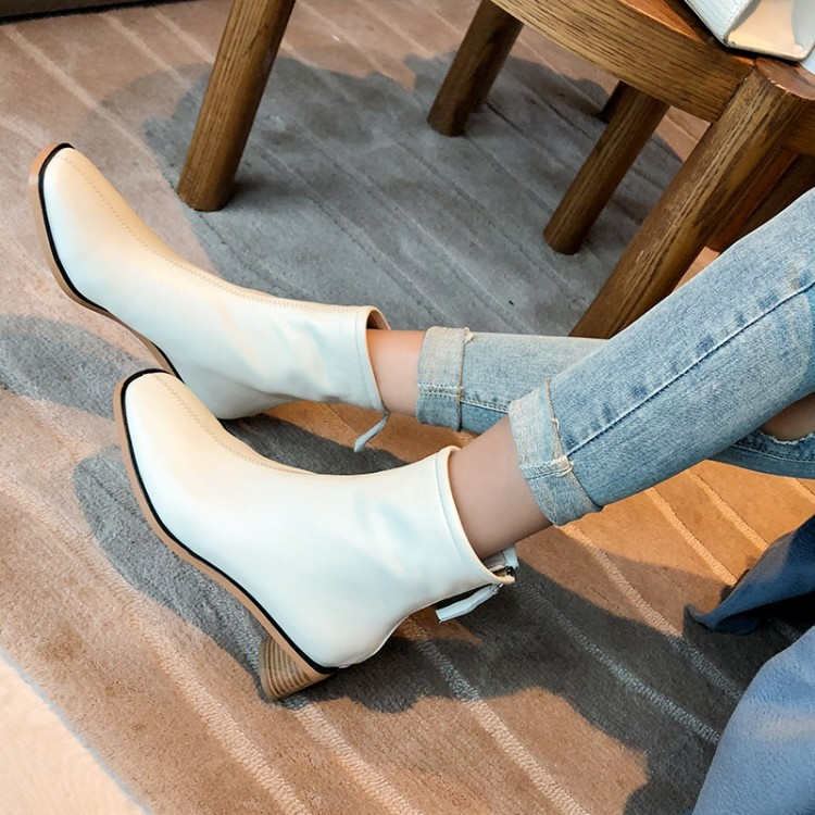 Women square heel boots Female Short Boots Women Boot Autumn And Winter New Cowhide Wood Grain Thick With The Square Head 2019