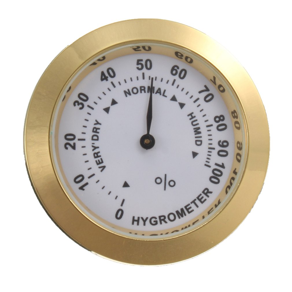 Brass Analog Hygrometer Cigar Tobacco Humidity Gauge & Glass Lens For Humidors Smoking Humidity Sensitive Gauge