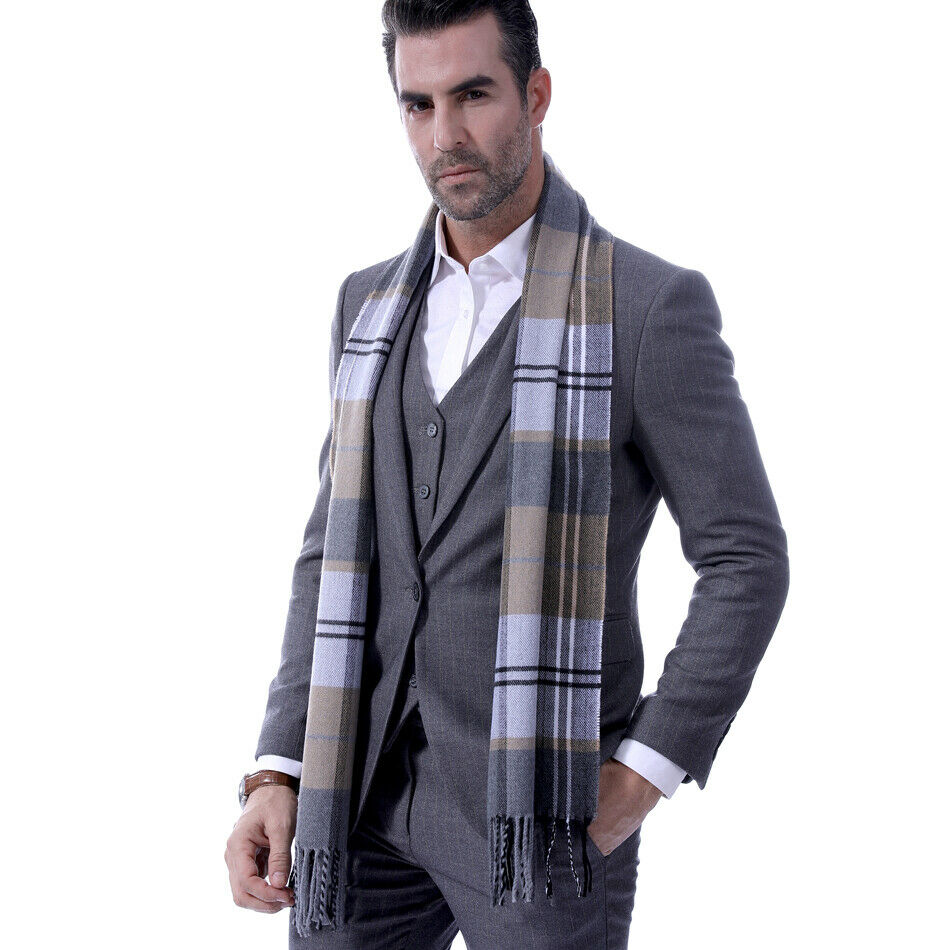 Mens Fine Soft Thermal Scarf Check Plaid Warm Winter Shawl Neck Wrap Long Scarf 190*30 CM