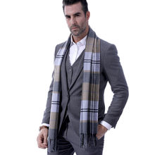 Mens Fine Soft Thermal Scarf Check Plaid Warm Winter Shawl Neck Wrap