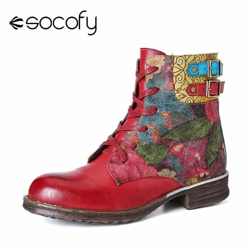 SOCOFY Botas Mujer Stiefel Womens Aquarell Rose Echtes Leder Zipper Lace Up Flache Stiefel Damen Schuhe Frauen Winter 2019