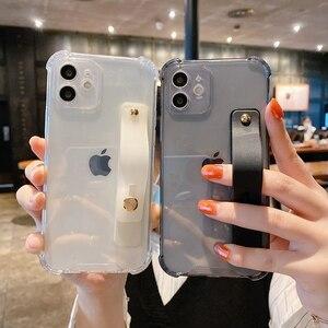 Image 2 - Soft Wrist Strap Phone Case For iPhone 11 12 Pro Max X XR Xs Max 7 8 Plus SE 2020 Mini Kickstand Transparent Bumper Back Cover