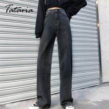 Damskie spodnie wiosenne dżinsy Vintage czarne dżinsy z wysokim stanem luźne rekreacyjne dżinsy z szeroką nogawką Streetwear Fashion Boyfriend workowate dżinsy tanie tanio Tataria COTTON Poliester Pełnej długości Osób w wieku 18-35 lat B067 Na co dzień Powlekane Wysoka Zipper fly Mankiety