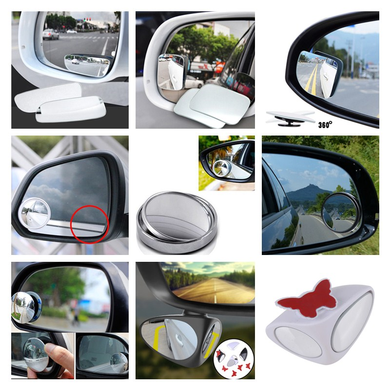 1Pair 360° Rotate Adjustable Car Blind Spot Wide Angle Auxiliary Mirror Seraphi