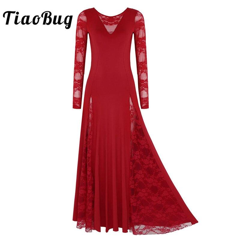 TiaoBug Adult Women Ballroom Dress Long Sleeve Lace Splice Prom Rave Party Standard Waltz Tango Modern Competition Dance Dresses