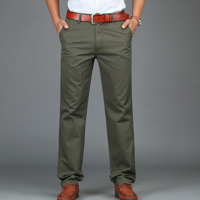 Business Casual Pants Men Casual Mid-waist Cotton Spring Summer Trousers Men Straight Men Pant Plus Size Pantalon Homme 29-42