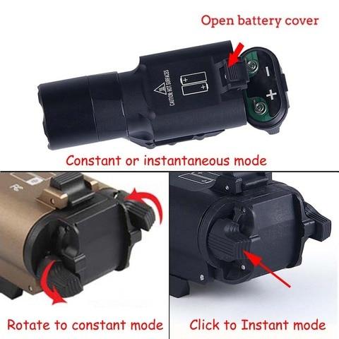pistola arma lanterna tatica luz x300uh b x300u