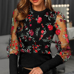 New Embroidery Floral Sheer Mesh Sleeve Blouse shirts Women 2020 Spring patchwork pullovers Elegant sexy see through tops