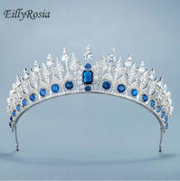 EillyRosia High Quality Crown Cubic Zirconia Hair Jewelry, Bridal Tiara, Wedding Accessories, Crystal Hair Tiaras and Crown