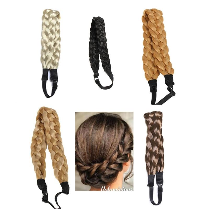 Synthetic Wig Braided Twisted Hair Band Elastic Twist Headband Princess Hair