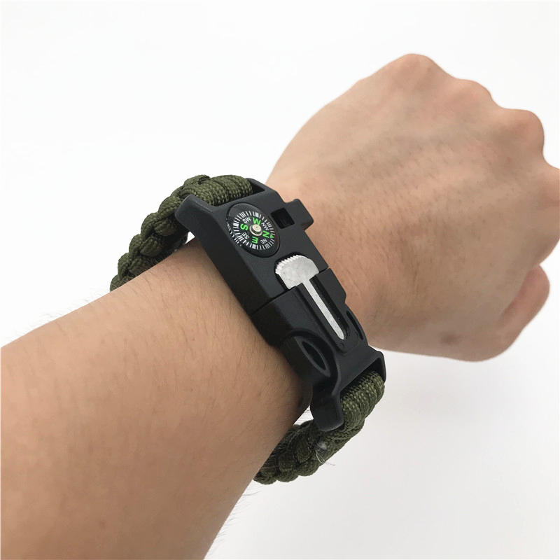 Safety Survival Paracord Whistle Bracelet Multi Functional Emergency Parachute  Code Without Flint Climbing Hiking EDC Tools