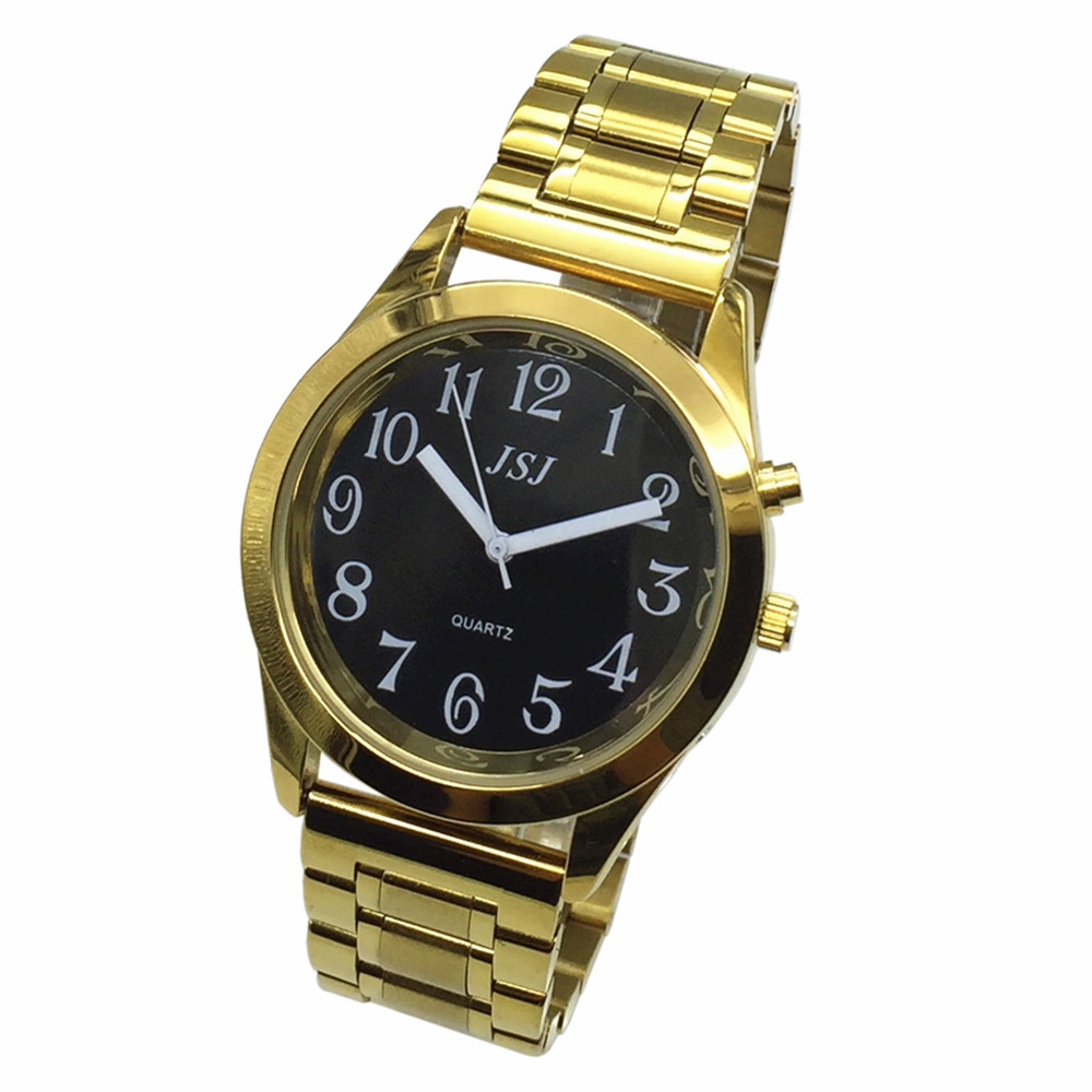 French Talking Watch With Alarm Function, Talking Date And Time, Black Dial, Folding Clasp, Golden Case TAF-808