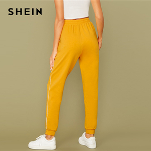 Image 2 - SHEIN Bright Yellow Drawstring Waist Contrast Piping Carrot Pants Women Autumn Active Wear High Waist Stretchy Casual Trousers
