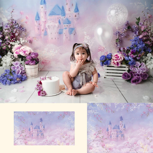 Fantasy Castle-Newborn Baby Portrait Backdrops Purple Floral Dreamy Castle Background Girls Art Photography Studio Prop