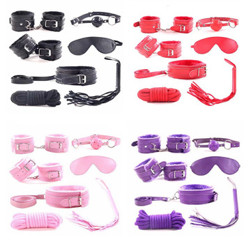 7pcs/set for Woman PU Leather SM Bondage Set Sexy Handcuffs Footcuffs Whip Rope Eye Mask Blindfold Erotic Sex Toys Couples