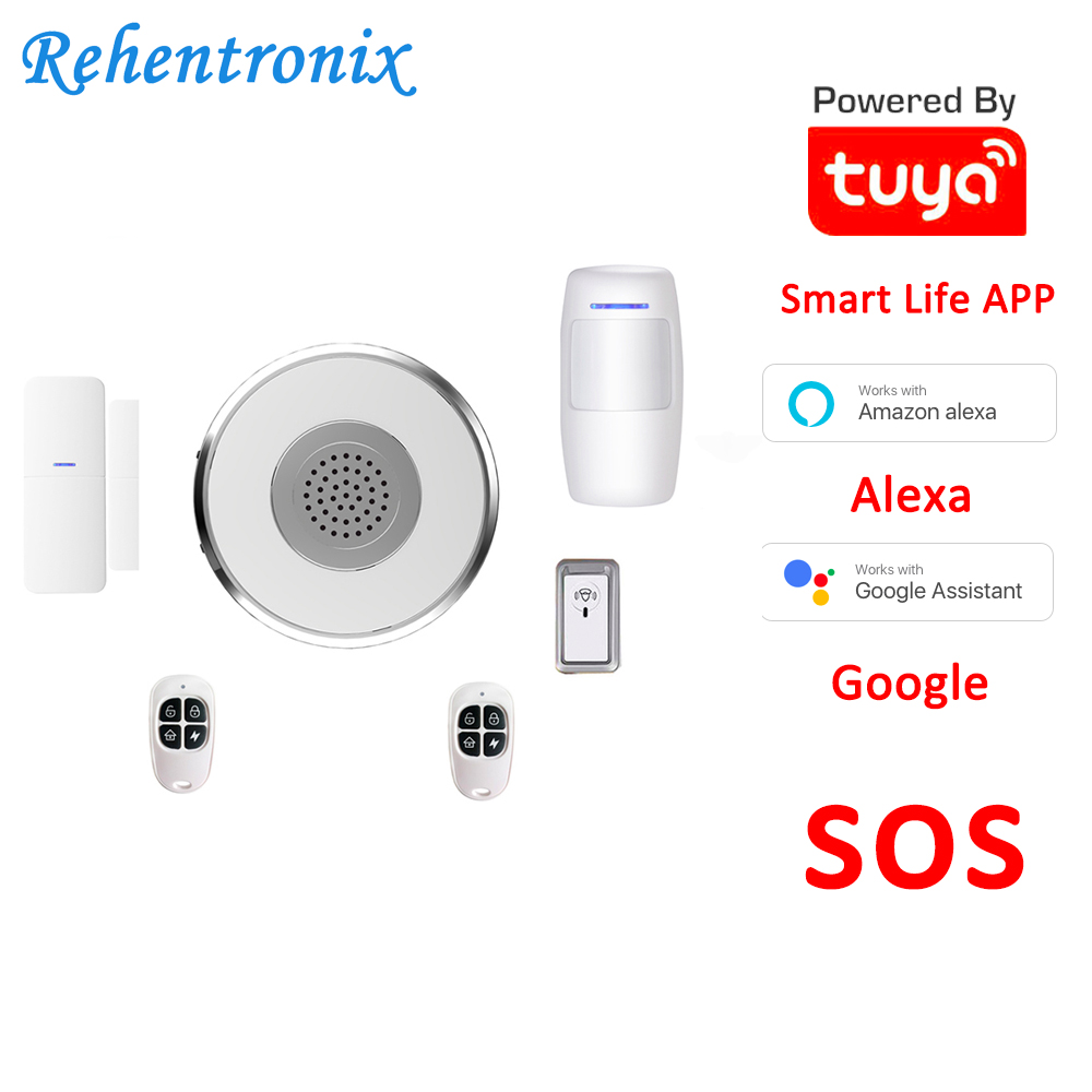 DIY Tuya Alexa Google Smart WiFi Alarm System kit SOS with APP Push and Calling Alarms, No Monthly Fee, No Long-Term Contracts image