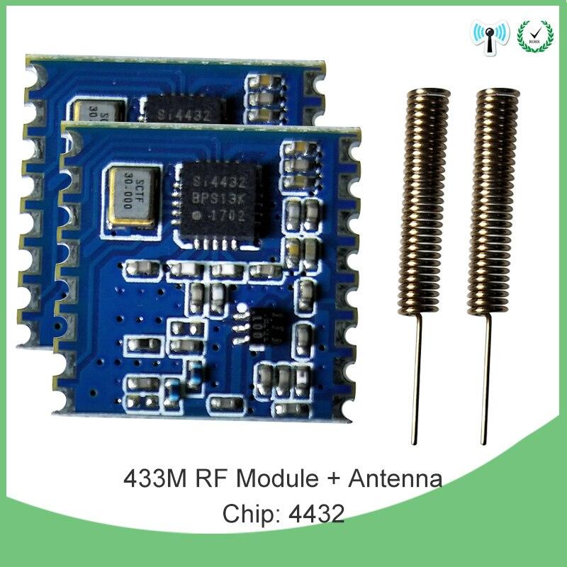 2 uds 433 MHz módulo inalámbrico FSK inalámbrico transceptor de espectro extendido receptor IOT rf shield y 2 uds 433 MHz antena