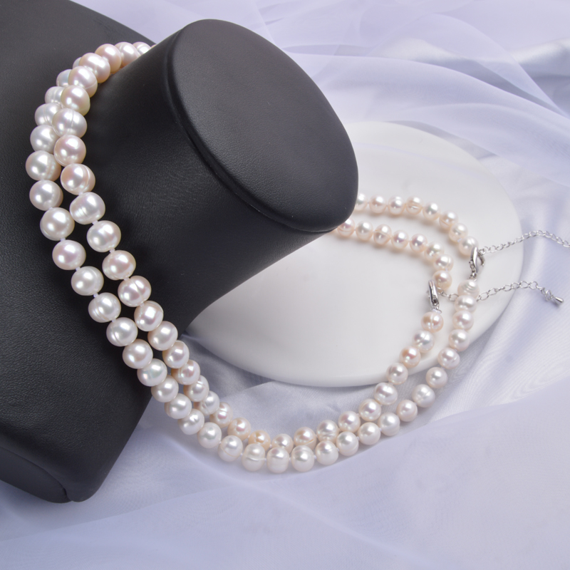 ASHIQI Real Natural Freshwater Pearl choker Necklace 8 9mm White Near Round Pearl Jewelry Gifts for ASHIQI Real Natural Freshwater Pearl choker Necklace 8-9mm White Near Round Pearl Jewelry Gifts for Women