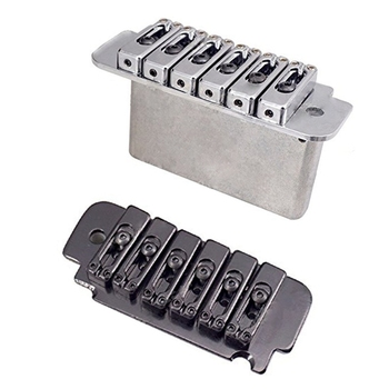 2 set 6-String Saddle Tremolo Bridge for Electric Guitar Heavy Duty Thick Base - Silver & Black floyd rose double locking tremolo system bridge for electric guitar parts black 24bd