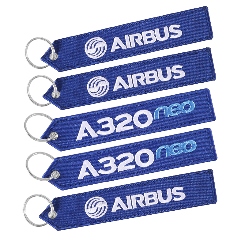 5 PCS AIRBUS Keychain Phone Straps Embroidery A320 Aviation Key Ring Chain For Aviation Gift Strap Lanyard For Bag Zipper