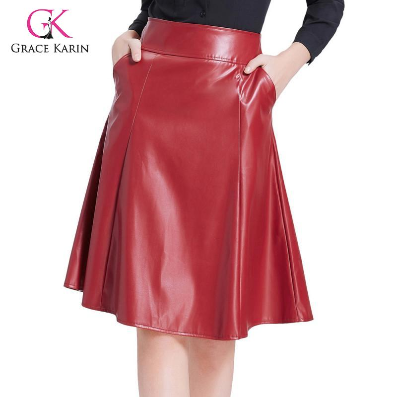 Grace Karin PU Leather Swing Skirt With Pocket Women Vintage Flared A-Line Skirt Casual High Waist Faux Leather Midi Skirts 2019