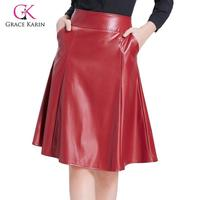 Grace Karin PU Leather Swing Skirt With Pocket Women Vintage Flared A Line Skirt Casual High Waist Faux Leather Midi Skirts 2020