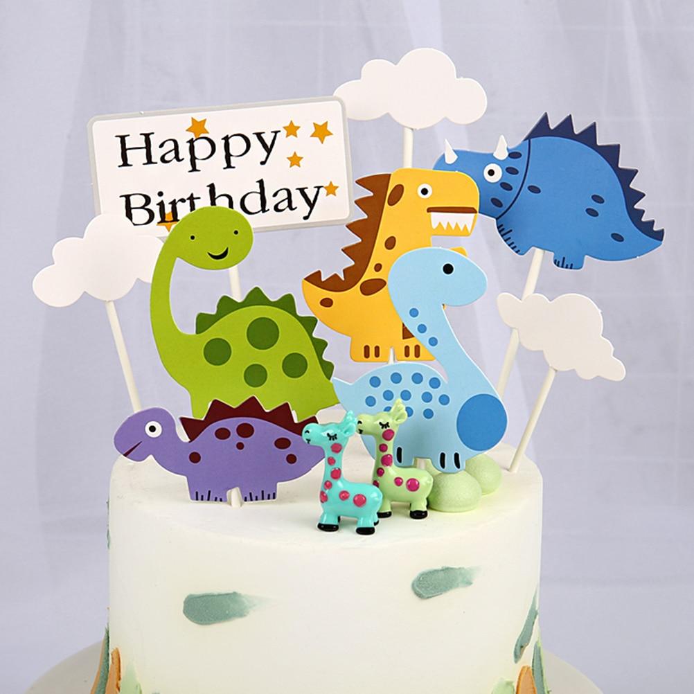 Superb 1 Set Happy Birthday Cake Topper Cartoon Cloud Dinosaur Cake Funny Birthday Cards Online Fluifree Goldxyz