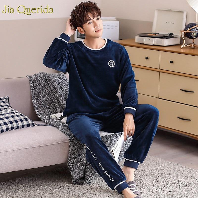 Men Pajamas Winter Sleep & Lounge Flannel Pajamas Set Royal Blue Warm Home Clothing Sport Letter Embroidery Men Leisure Suits