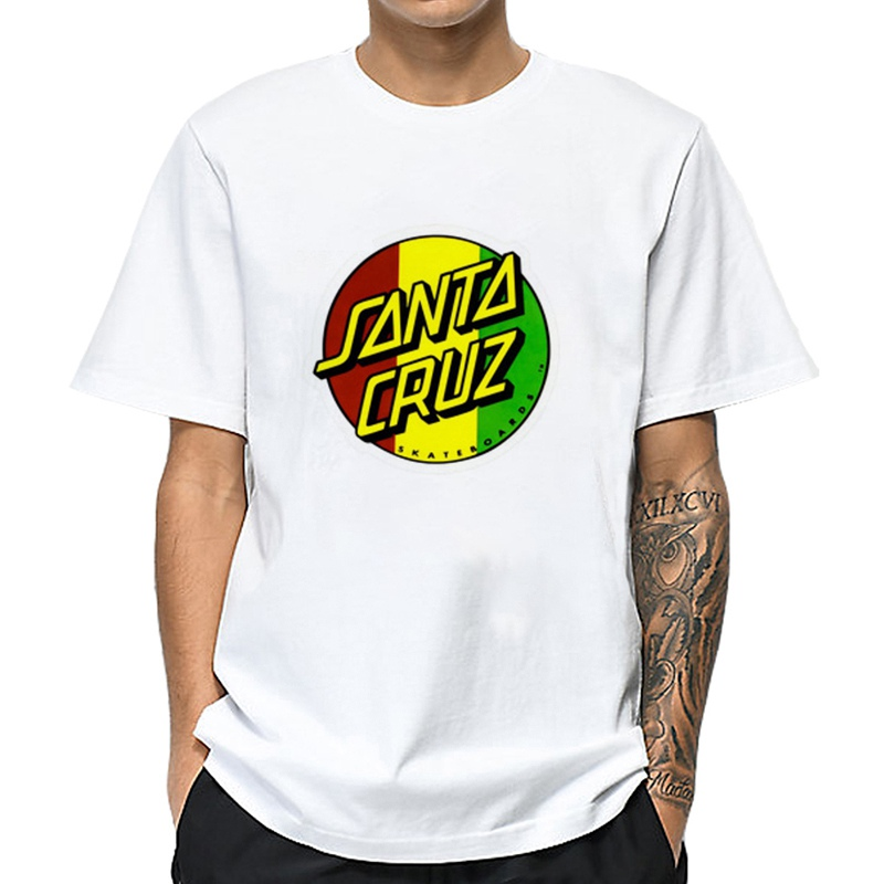 MOUNTSHARP Men Funny T Shirt Streetwear Print Santa Cruz RASTA Dot Casual Cotton T-Shirt Hip Hop Unisex Clothes Tshirt