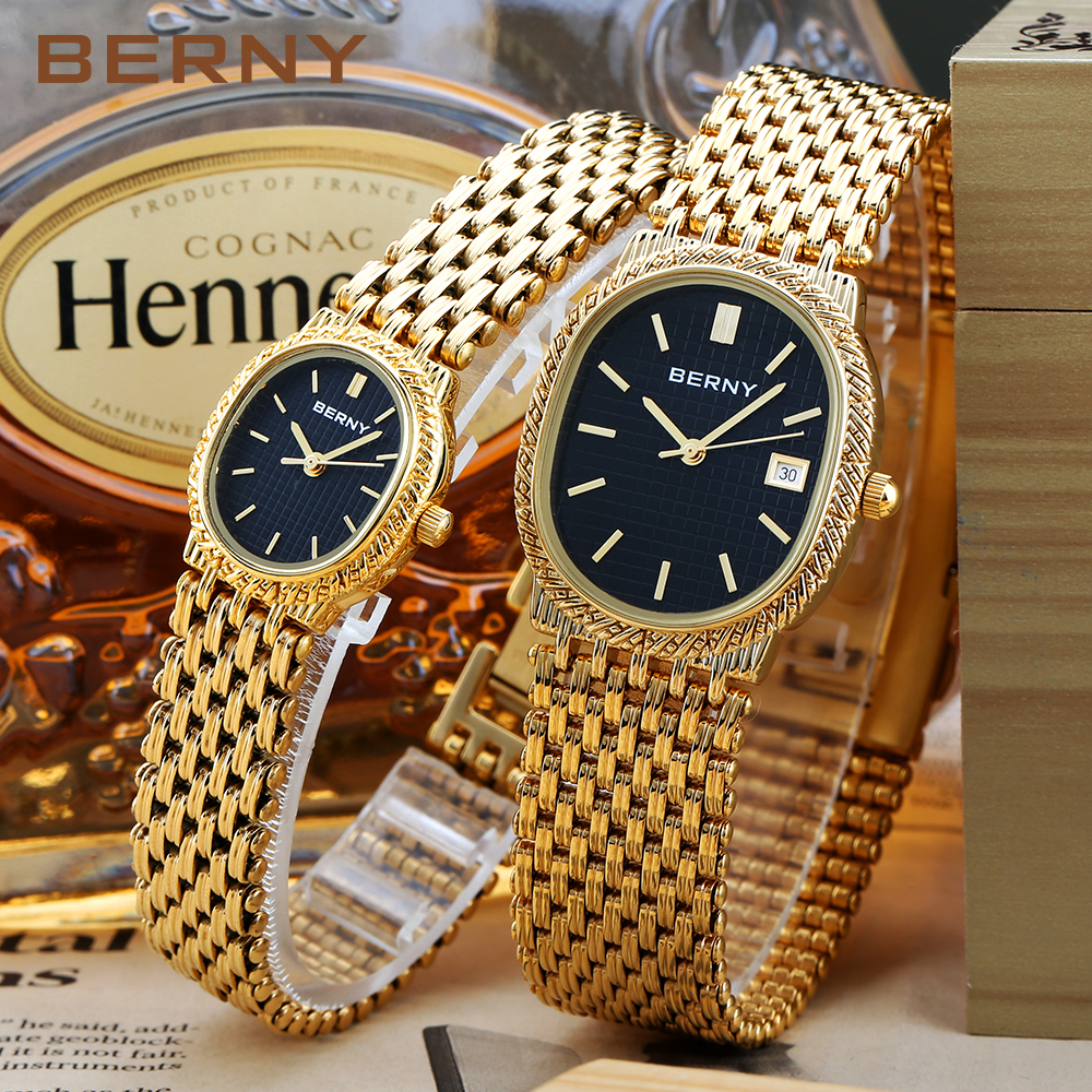 18K Gold Banquet Wrist Watch Couple Feast Watches Men Women Lover Watch Christmas Gift Japan Quartz Water Resistant