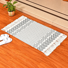 SKTEZO Bohemian Retro Hand-Woven Cotton Linen Carpet with Tassels and Night Mat Geometric Floor Living Room Home Decor