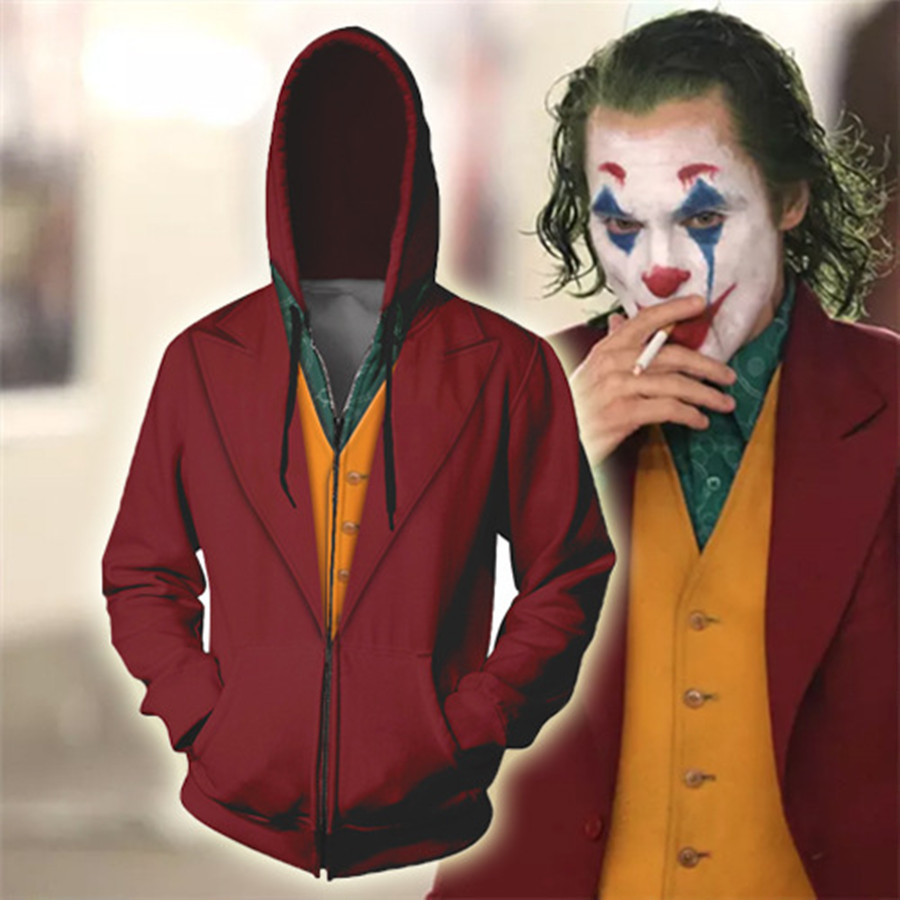 Anime Hoodie Sweatshirt Movie Joker Cosplay Costume Batman Clown Hoodie Jacket Coats Men Women Top