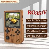 ANBERNIC-mando de juegos RG351V, 5000 juegos clásicos, RK3326, miniconsola Retro portátil, IPS, Wifi, juego de combate en línea