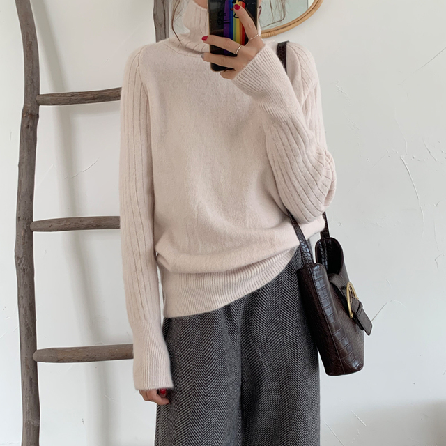 Ailegogo Winter Women Turtleneck Sweater Casual Female Knitted Long Sleeve Loose Pullovers Solid Color Ladies Korean Style Tops 3