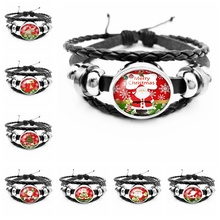 2019 Best Selling The Latest Cartoon Cute Santa Series Glass Convex Fashion Leather Mens Bracelet Jewelry Gift