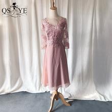 QSYYE różowa sukienka druhna szyfonowa Plus rozmiar sukienka na studniówkę pół długie rękawy koronkowe aplikacje formalna wieczorowa suknia ślubna gości tanie tanio Tea-długość A-LINE CN (pochodzenie) SCOOP Połowa embroidery Koronki Dla dorosłych Q0115001 Suknie druhna REGULAR simple