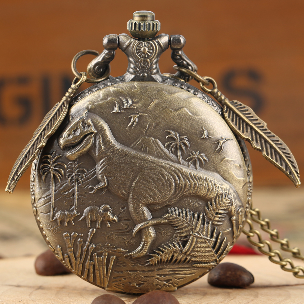 Retro Bronze 3D Dinosaur Sculpture Design Necklace Quartz Pocket Watch Top Gifts Pendant Clock FOB Chain With Leaf Accessory