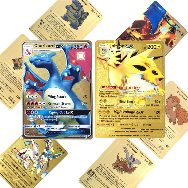 6 pièces/lot Pokemones jeu Anime bataille carte or métal carte avec boîte Charizard Tag équipe Collection cartes Pokemones enfant jouet cadeau