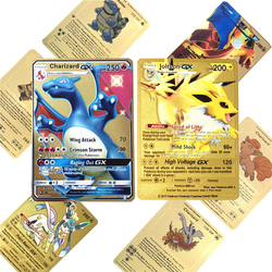 6pcs/lot Pokemones Game Anime Battle Card Gold Metal Card With Box Charizard Tag Team Collection Cards Pokemones Child Toy Gift