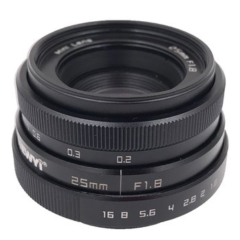 Brand New 25mm F1.8 Camera Lens,Mini CCTV C Mount Wide Angle Lens for Sony for Nikon for Canon DSLR Silver & black yongnuo 35mm yn35mm f2 lens 1 2 af mf wide angle fixed prime auto focus lens for canon nikon camera