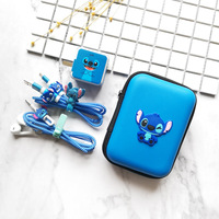 Disney-funda protectora para auriculares con dibujos animados, pegatina de carga USB, protección de Cable en espiral para iPhone y teléfono móvil