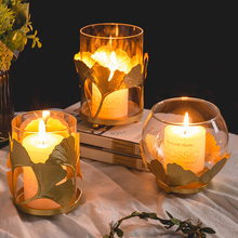 Nordic Luxury Gold Candle Holders Glass Metal Candlestick Home Decor Aromatherapy Gift Bougeoir Candles Home Decoration