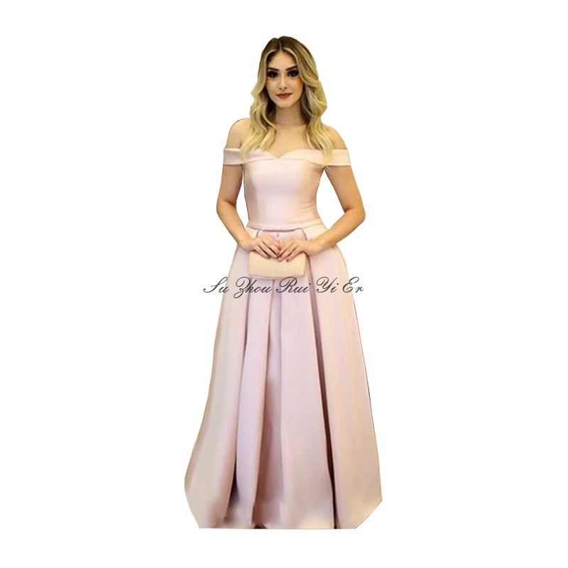 Abendkleider Off The Shoulder Evening Dress Corset Back Prom Dress A-line Satin Evening Gown Vestidos De Fiesta De Noche