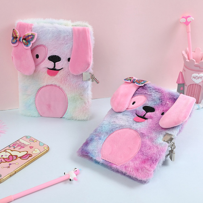 Kids Cute Animal Colorful Plush Pet Notepad Girls Portable Creative Notebooks Travel Diary Stationery Student Study Supplies