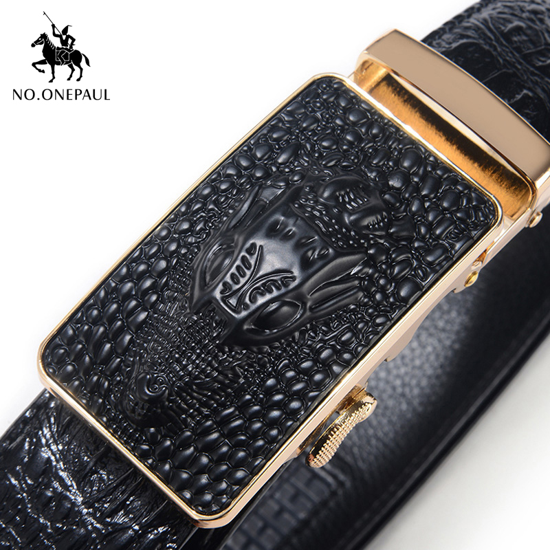 NO.ONEPAUL Cow Genuine Leather Men's Belt Cowhide Strap For Male Automatic Buckle Belts For Men Alloy New Arrival Buckle Belts