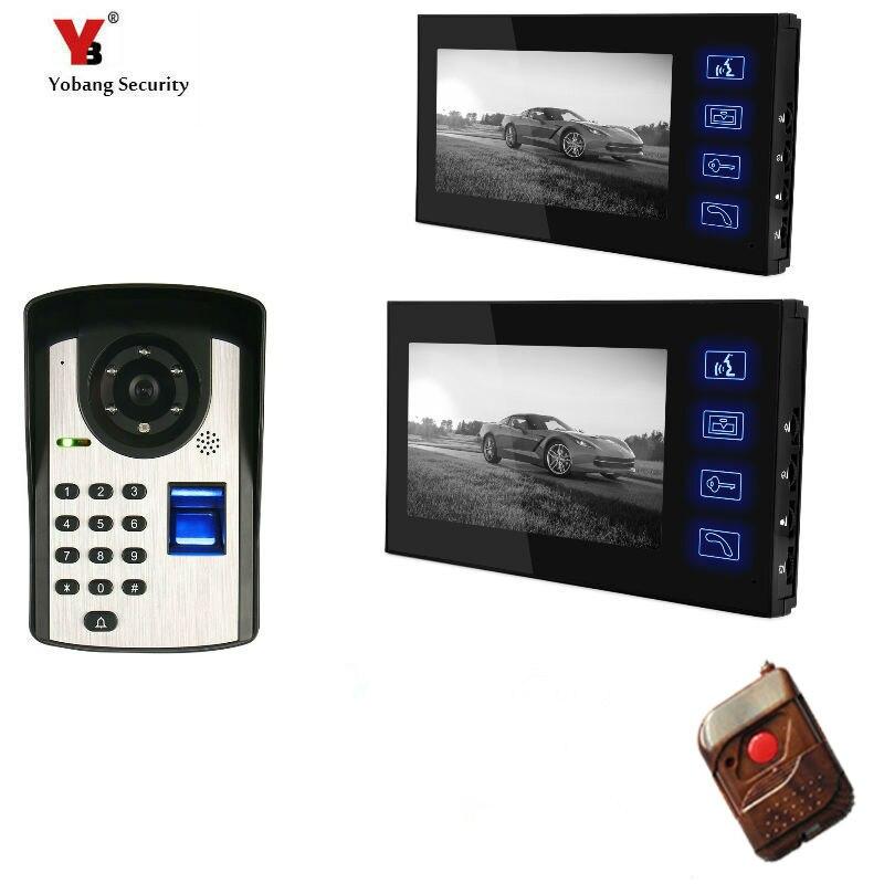 2*7inch Fingerprint/Password Code Unlock Door Camera Video Door Phone Video Doorbell Apartment Intercom System